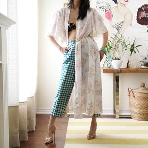 Natori silky long floral lace embroidered robe